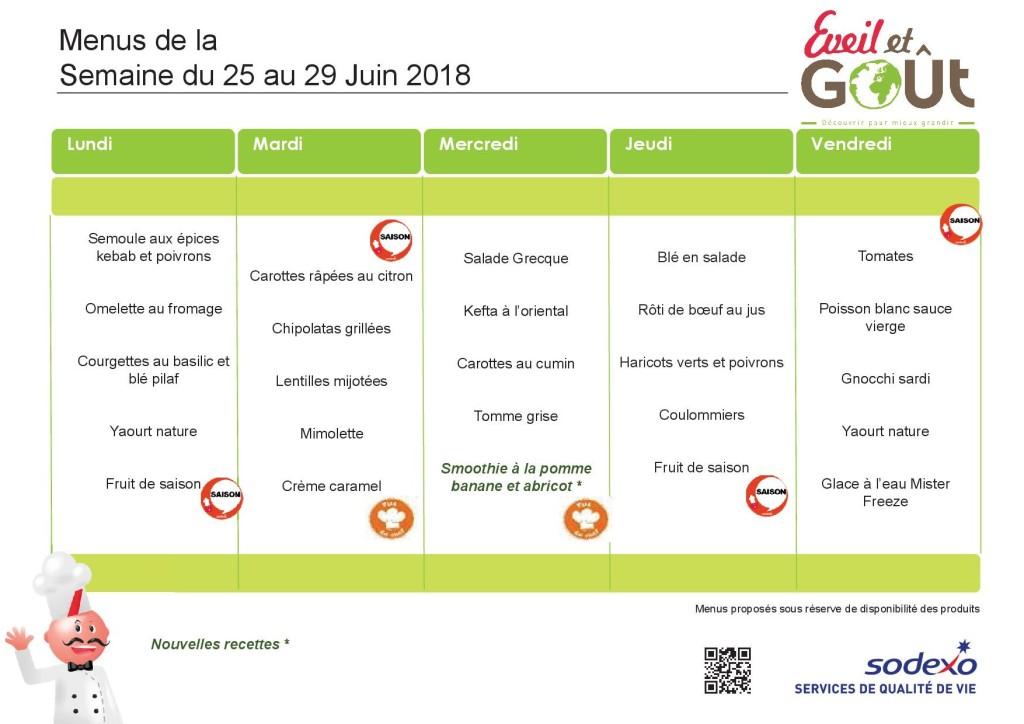 menu du 25 Juin au 29 Juin