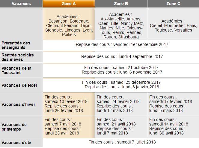 calendrier scolaire ecole st-pierre